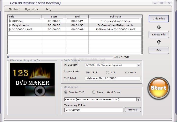 Pantallazo 123 DVD Maker