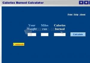 Pantallazo Calories Burned Calculator