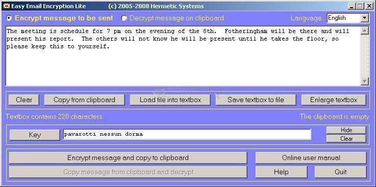 Pantallazo Easy Email Encryption Lite
