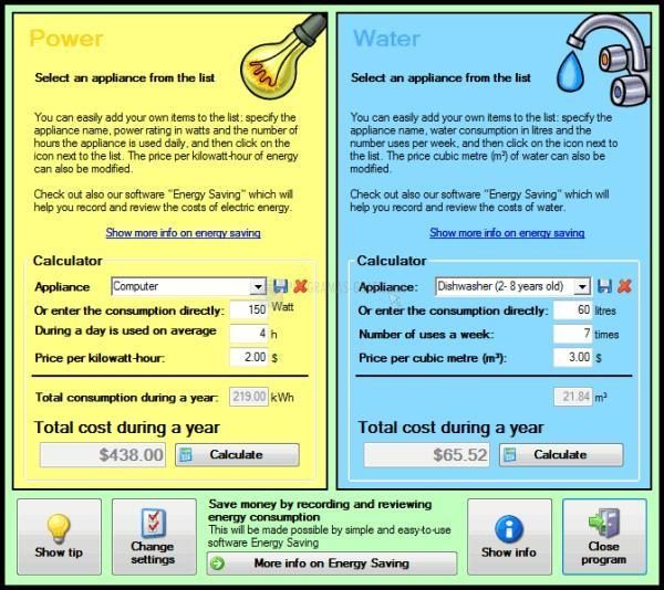 Pantallazo Energy Costs Calculator