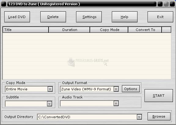 Pantallazo 123 DVD to Zune
