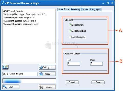 Pantallazo ZIP Password Recovery Magic