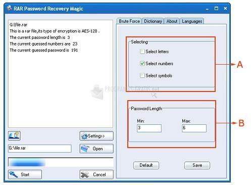 Pantallazo RAR Password Recovery Magic
