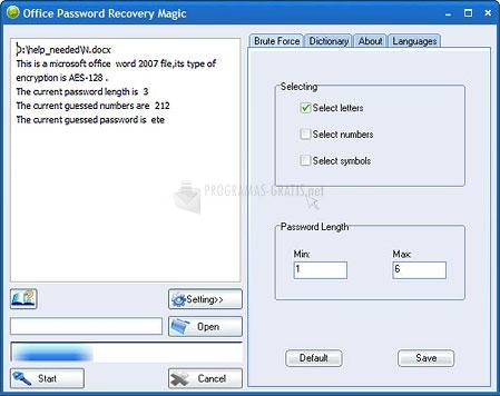 Pantallazo Office Password Recovery Magic