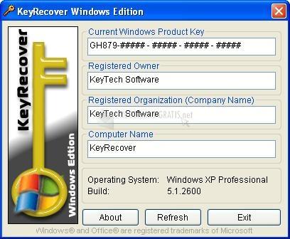 Pantallazo Key Recover Windows Edition