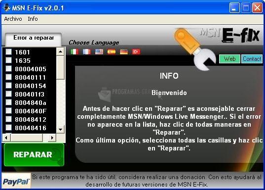 Pantallazo MSN E-Fix