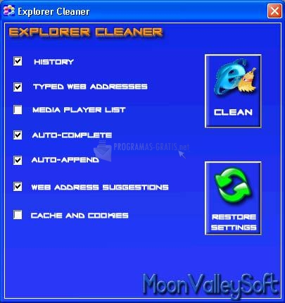 Pantallazo Explorer Cleaner