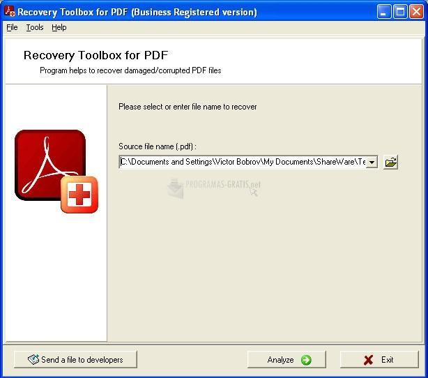 Pantallazo PDF Recovery Toolbox