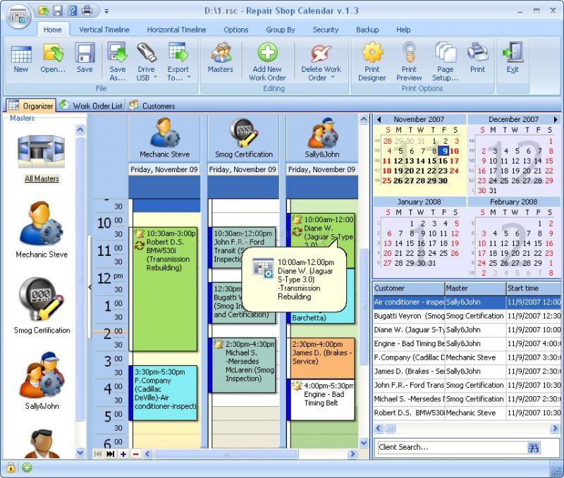 Pantallazo Repair Shop Calendar for Workgroup