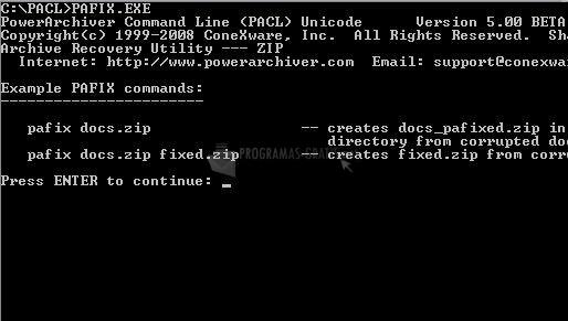 Pantallazo Power Archiver Command Line