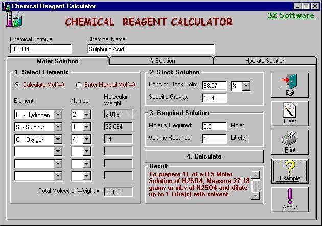Pantallazo Chemical Reagent Calculator