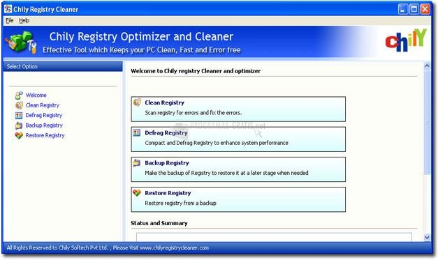 Pantallazo Chily Registry Cleaner