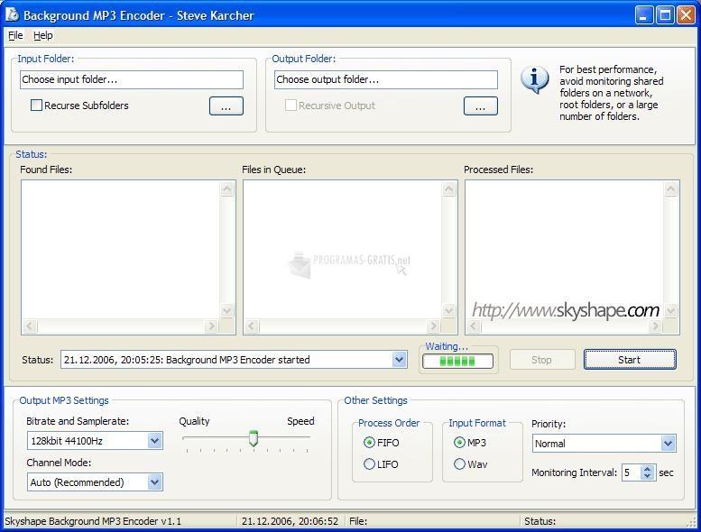 Pantallazo Background MP3 Encoder