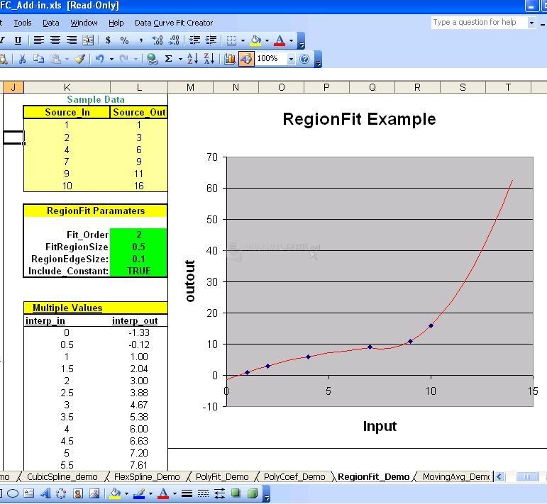 Pantallazo Data Curve Fit Creator