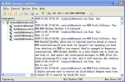 Pantallazo MSN Checker Sniffer