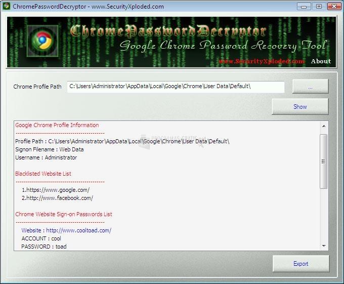Pantallazo Chrome Password Decryptor