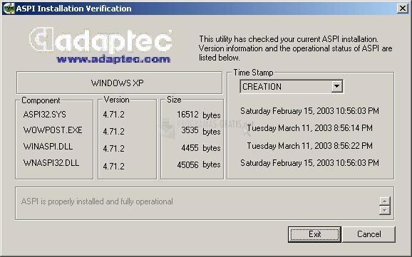Pantallazo Adaptec ASPI drivers