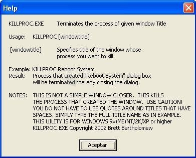 Pantallazo KillProc