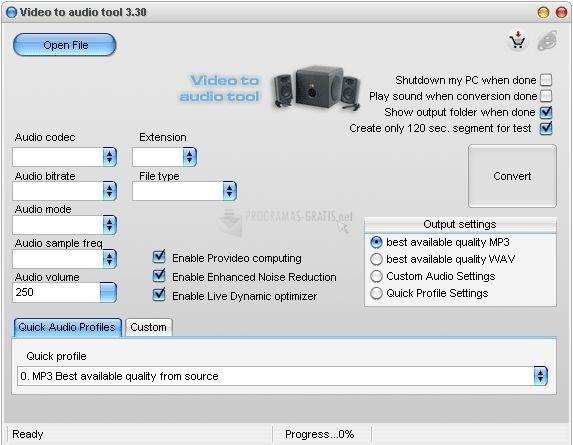 Pantallazo Video to audio tool