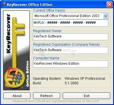 Pantallazo Key Recover Office Edition