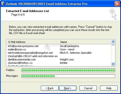 Pantallazo Outlook Email Address Extractor