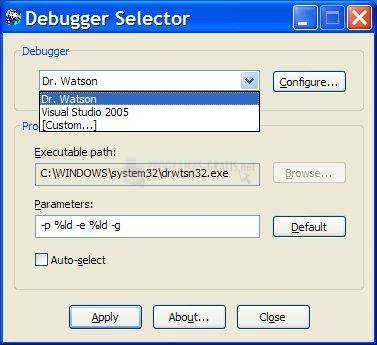 Pantallazo Debugger Selector