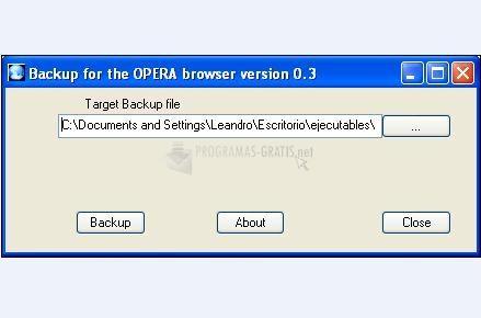 Pantallazo Backup Opera