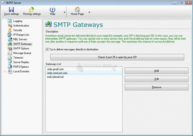 Pantallazo Local SMTP Server Pro