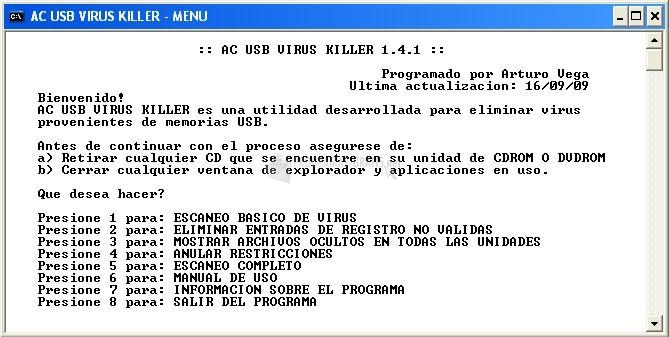 Pantallazo AC USB Virus Killer