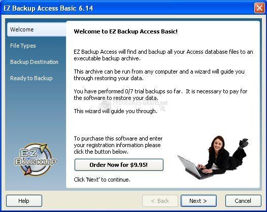 Pantallazo EZ Backup Access Basic