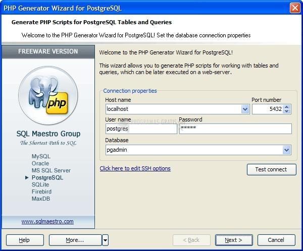 Pantallazo PostgreSQL PHP Generator