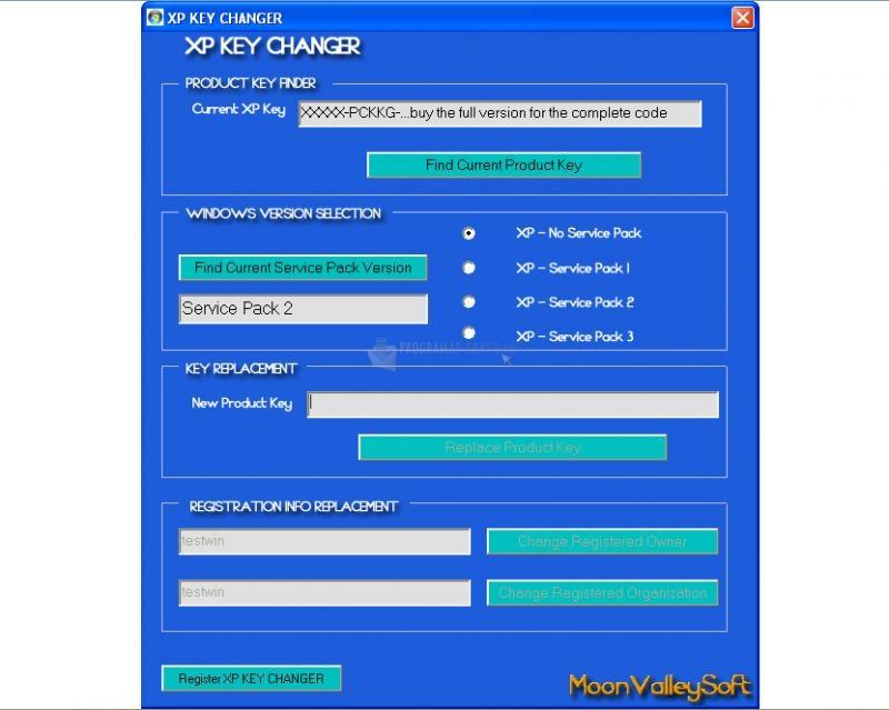 Pantallazo XP Key Changer