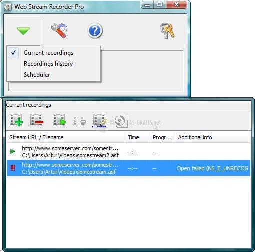 Pantallazo Web Stream Recorder 2010
