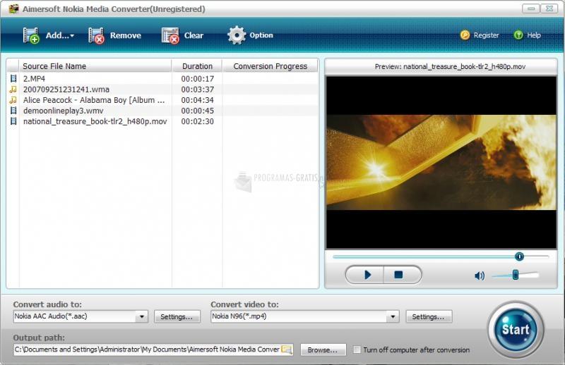 Pantallazo Aimersoft Nokia Media Converter