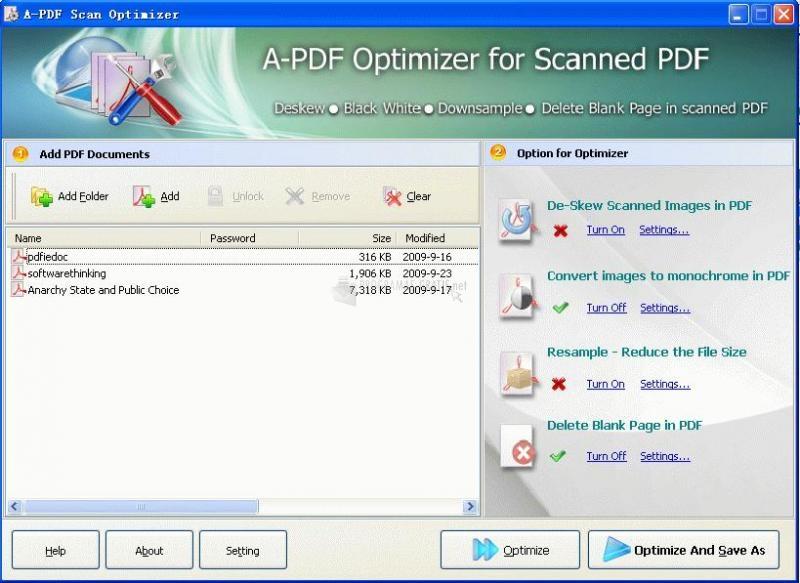 Pantallazo A-PDF Scan Optimizer
