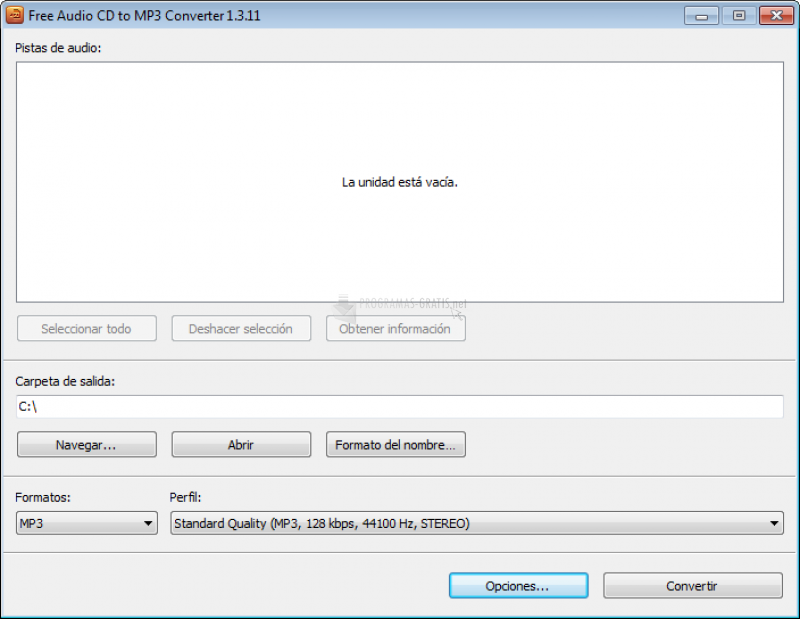 Pantallazo Free Audio CD To MP3 Converter