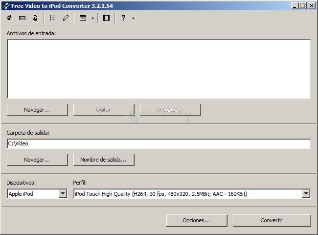 Pantallazo Free Video to iPod and PSP Converter
