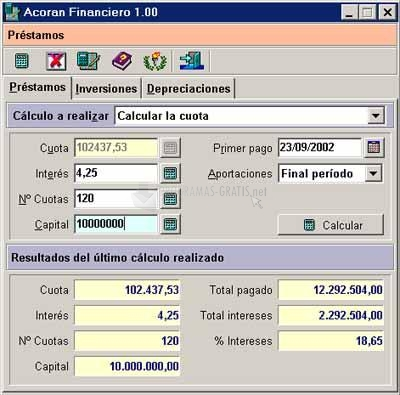 Pantallazo Acoran Financiero