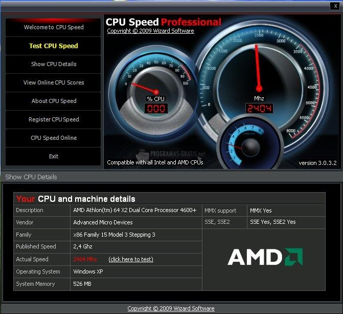 Pantallazo CPU Speed Professional