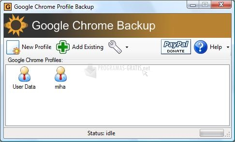 Pantallazo Google Chrome Backup