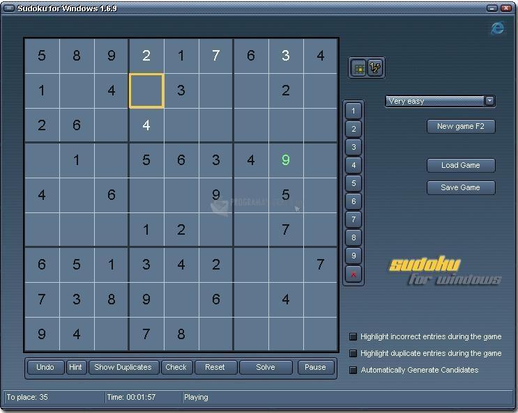Pantallazo Sudoku for Windows