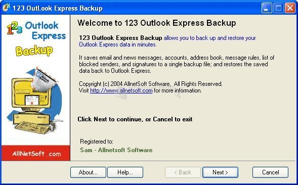 Pantallazo 123 Outlook Express Backup