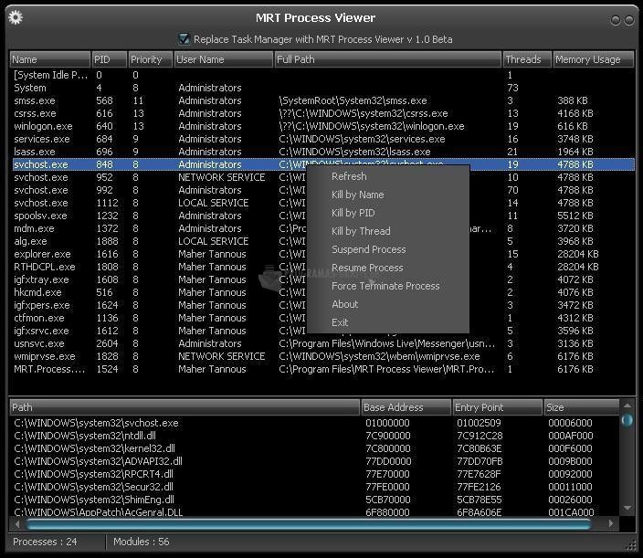 Pantallazo MRT Process Viewer