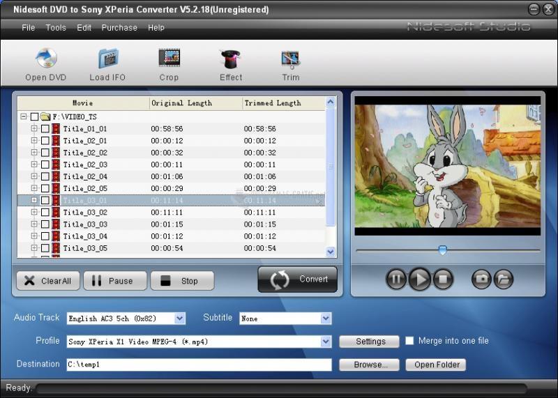 Pantallazo DVD to Sony Xperia Converter