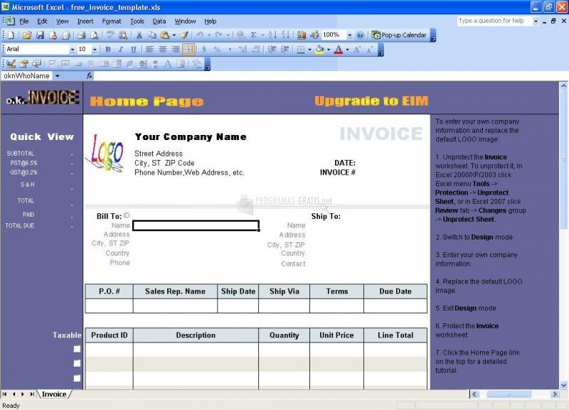 Pantallazo Excel Invoice Template