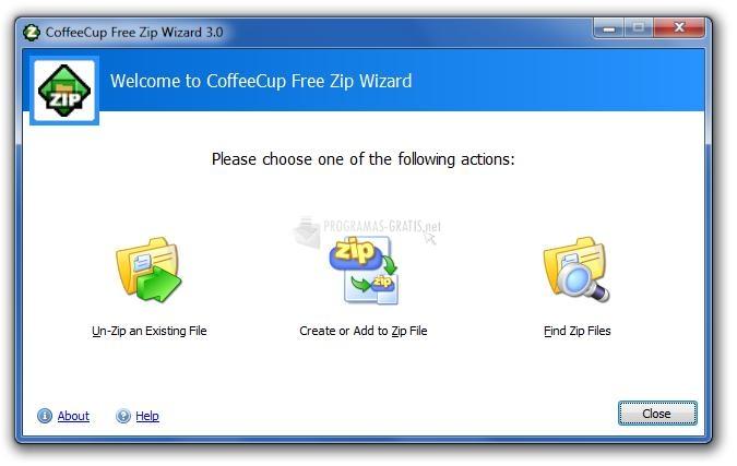Pantallazo CoffeeCup Free Zip Wizard
