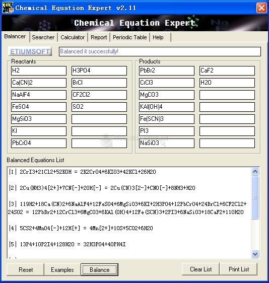 Pantallazo Chemical Equation Expert