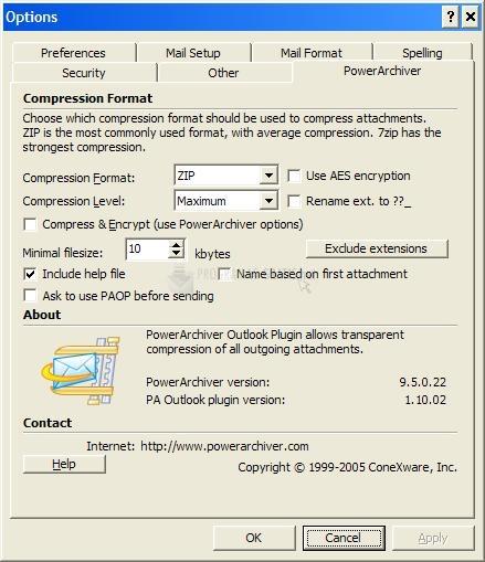 Pantallazo Power Archiver Outlook Deutsch