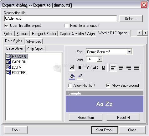 Pantallazo Advanced Data Export