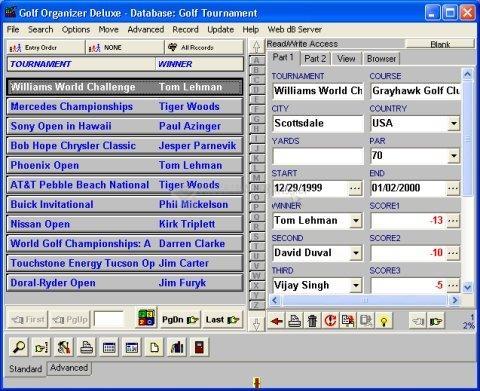 Pantallazo Golf Organizer Deluxe
